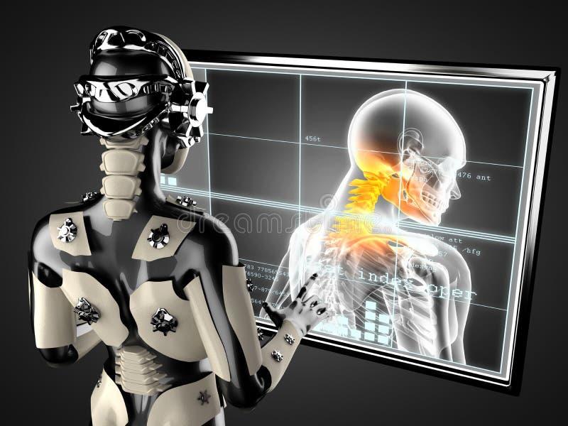 Displey för hologram för robotkvinna behandlande royaltyfri illustrationer