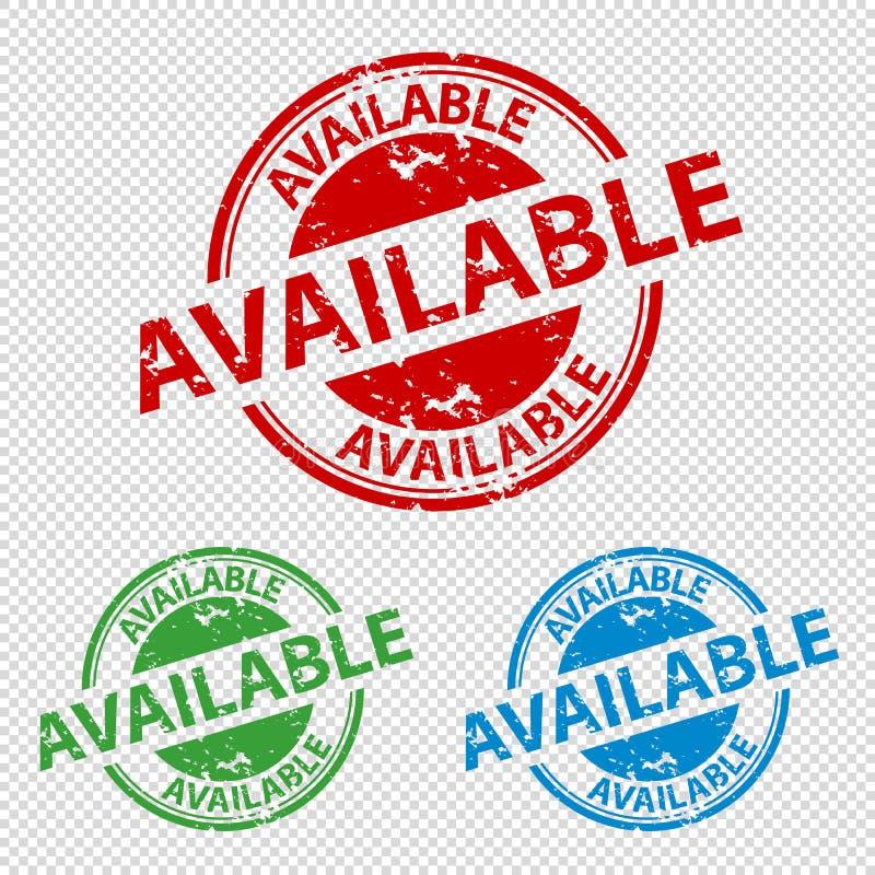 Disponível do selo do carimbo de borracha - ilustração do vetor - isolado no fundo transparente ilustração royalty free