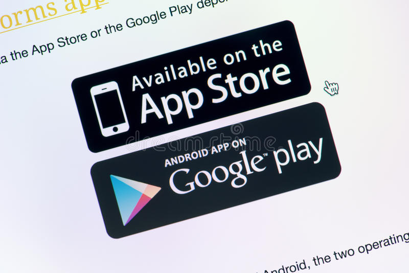 Disponível no jogo de App Store e de Google imagem de stock royalty free