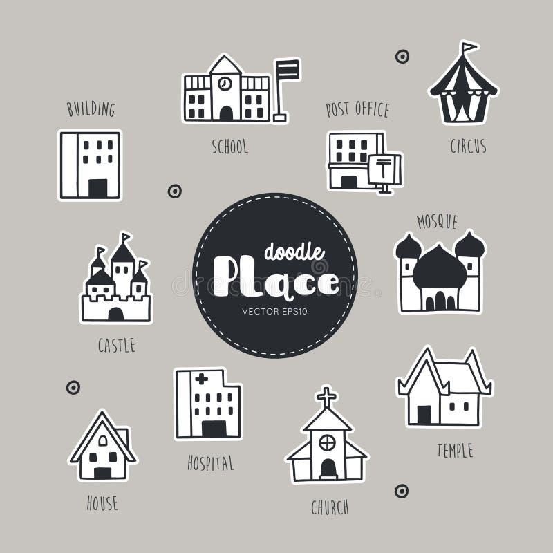 Disponga le icone disegnate a mano di scarabocchio messe royalty illustrazione gratis