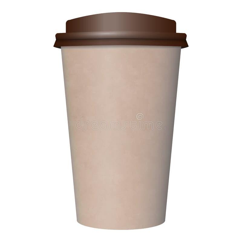 Disponibel brun kopp för kaffe för kraft papper stock illustrationer