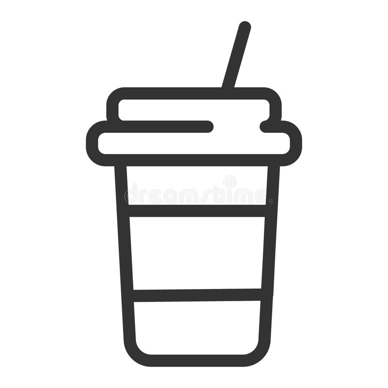 Disponibel linje symbol för kaffekopp Pappers- illustration för vektor för kaffekopp som isoleras på vit Takeaway översikt för ka stock illustrationer