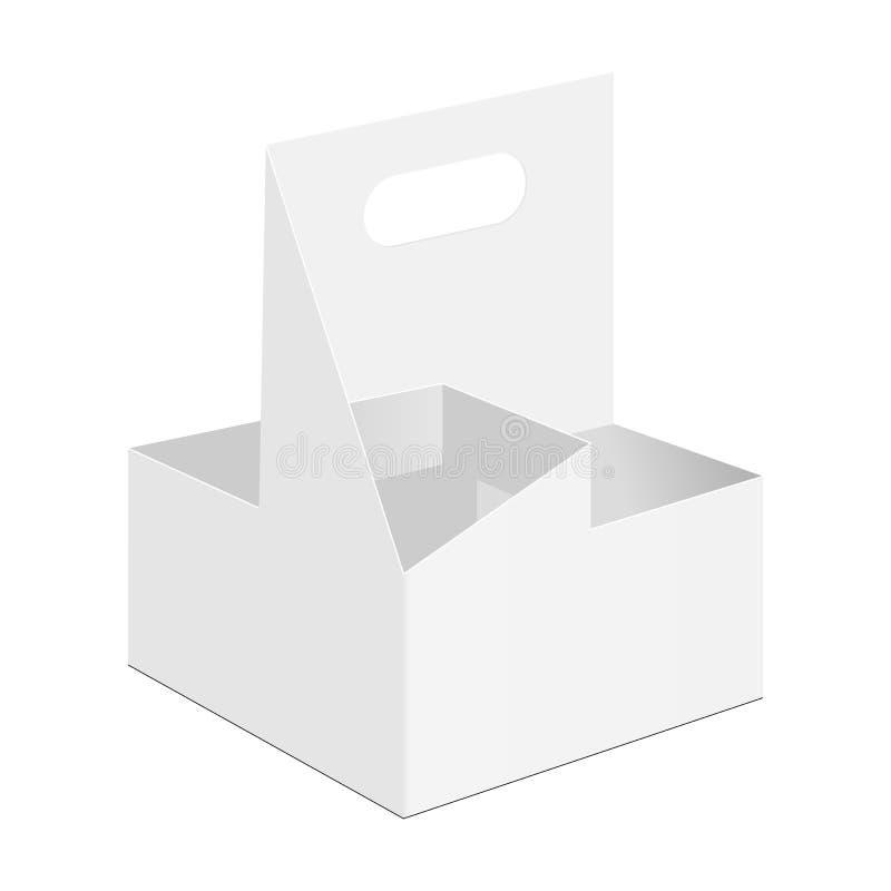 Disponibel pappdrinkhållare, bärare för kaffekopp som isoleras på vit bakgrund royaltyfri illustrationer