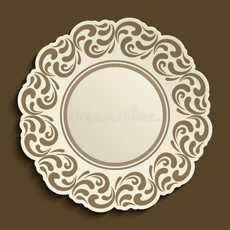 Disponibel platta med den dekorativa gränsen royaltyfri foto