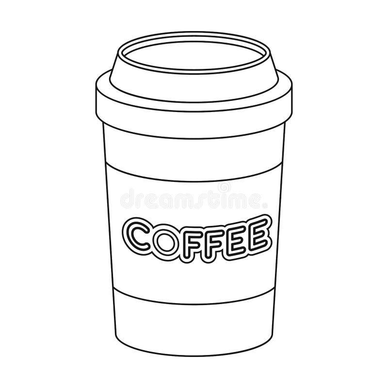 Disponibel symbol för kaffekopp i översiktsstil som isoleras på vit bakgrund vektor illustrationer