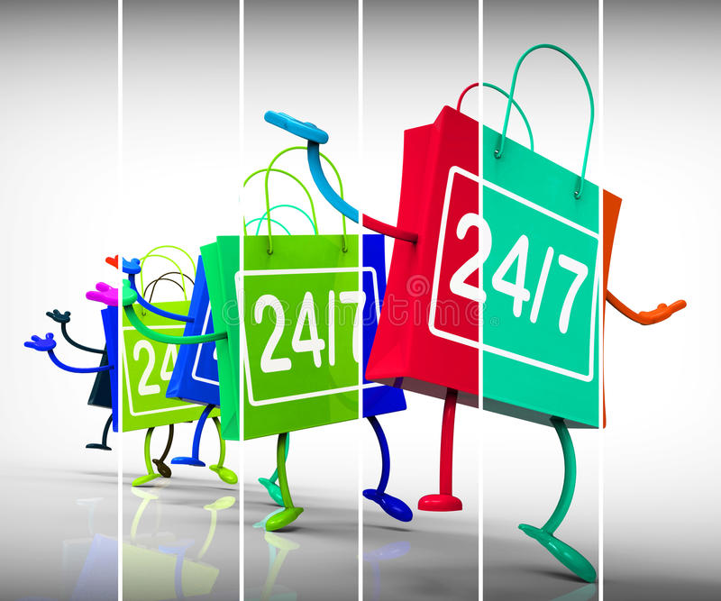 Disponibilità di manifestazione di venti quattro sette sacchetti della spesa tutta la settimana illustrazione vettoriale