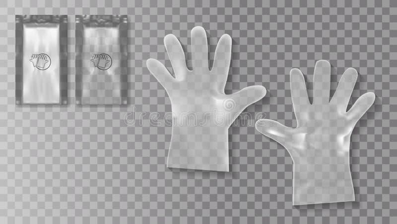 Disponibla genomskinliga plast- handskar med emballage för avsikt för medicinskt bruk eller skönhetsmedel royaltyfri illustrationer