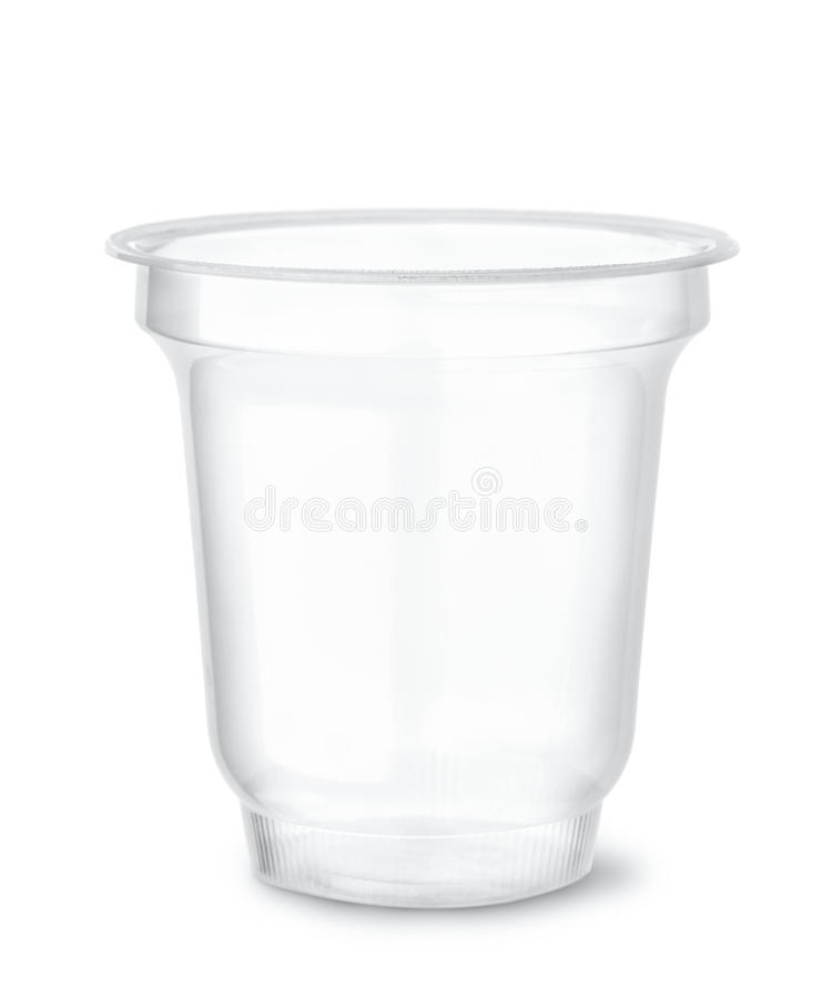 Disposable clear plastic cup. Isolated on white stock photography