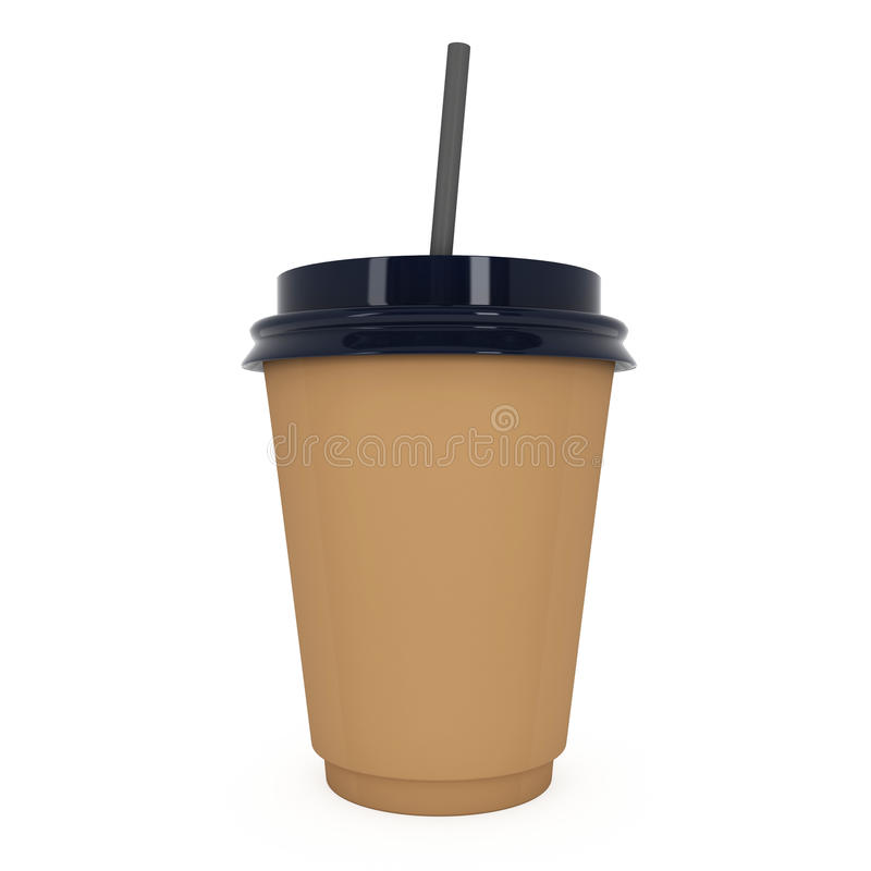 Disposable coffee cup. Brown paper mug with plastic cap. Disposable coffee cup with paper straw . Brown paper mug with plastic cap. 3d render isolated on white vector illustration