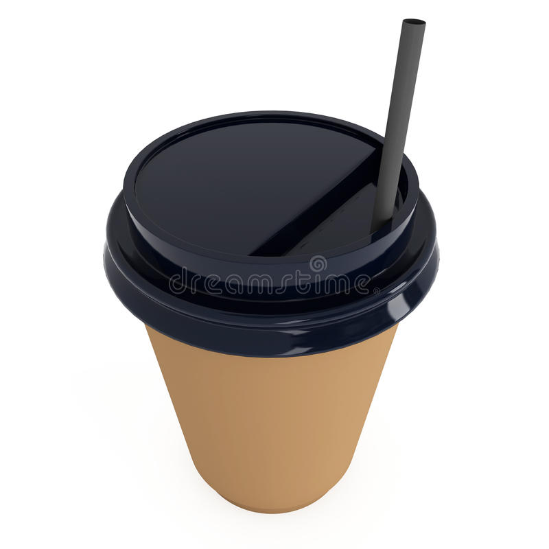 Disposable coffee cup. Brown paper mug with plastic cap. Disposable coffee cup with paper straw . Brown paper mug with plastic cap. 3d render isolated on white stock illustration
