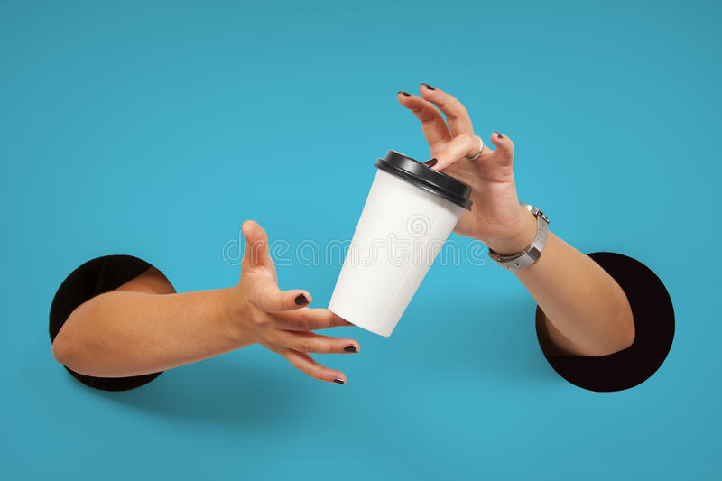 Disposable coffee cup in female hands. Female hands through the holes on a white background are holding the disposable coffee cup stock photography