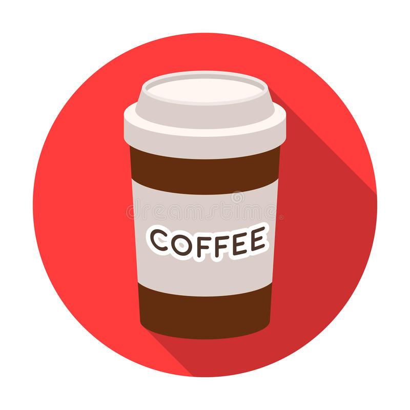 Disposable coffee cup icon in flat style isolated on white background. Hipster style symbol stock vector illustration. royalty free illustration