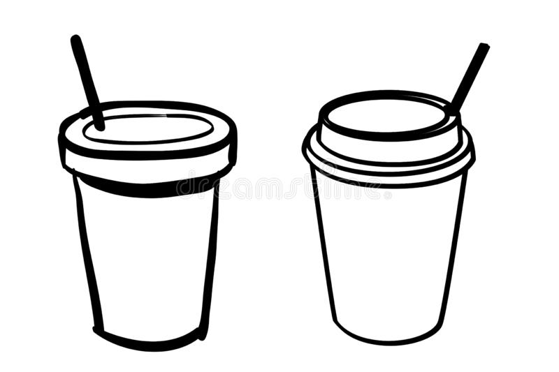 Disposable coffee cup icon on white background. Doodle style. Eat, food, mug, cafe, outline, black, concept, set, foid, beverage, new, art, drawing, graphic stock photos