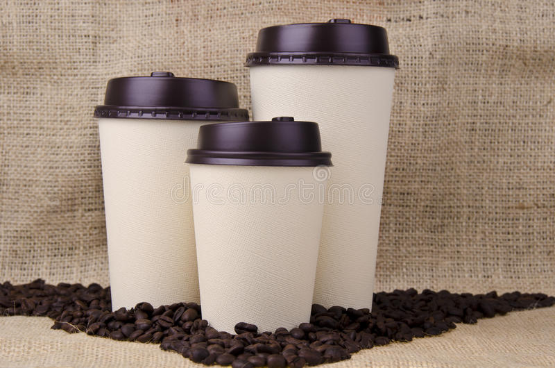 Disposable coffee cups royalty free stock photo