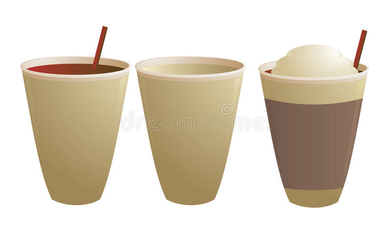 Disposable coffee cups. Empty and with stirring straw isolated on white royalty free illustration