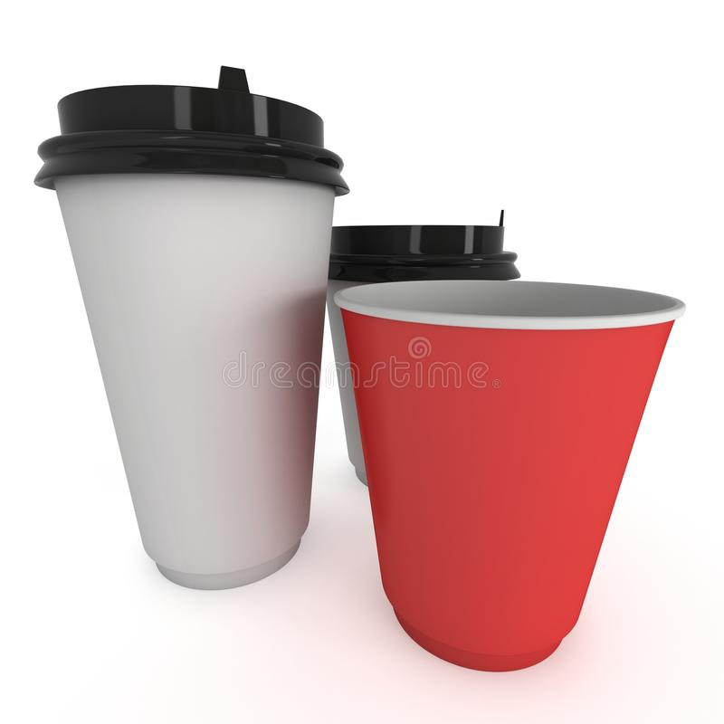 Disposable coffee cups. Blank paper mug. 3d render isolated on white background vector illustration