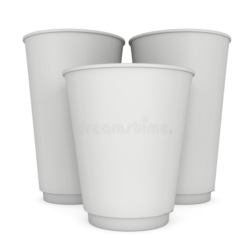Disposable coffee cups. Blank paper mug. 3d render isolated on white background royalty free illustration