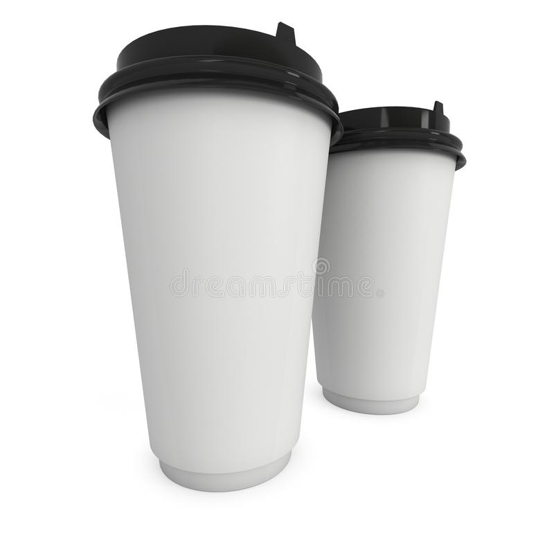 Disposable coffee cups. Blank paper mug with plastic cap. 3d render isolated on white background vector illustration