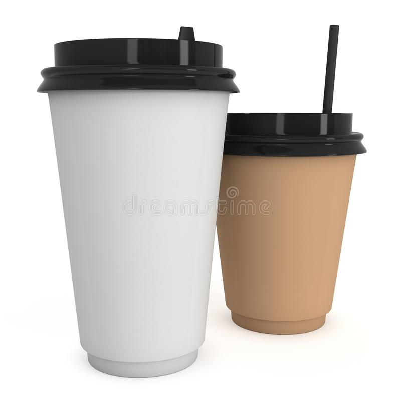 Disposable coffee cups. Blank paper mug with plastic cap. Disposable coffee cups with paper straw . Blank paper mug with plastic cap. 3d render isolated on white stock illustration