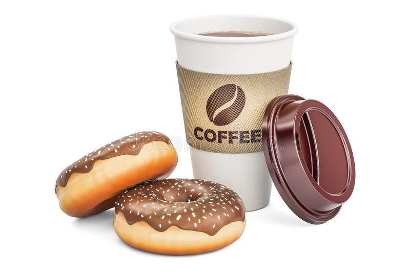 Disposable cup of coffee with chocolate donuts, 3D rendering. On white background royalty free illustration