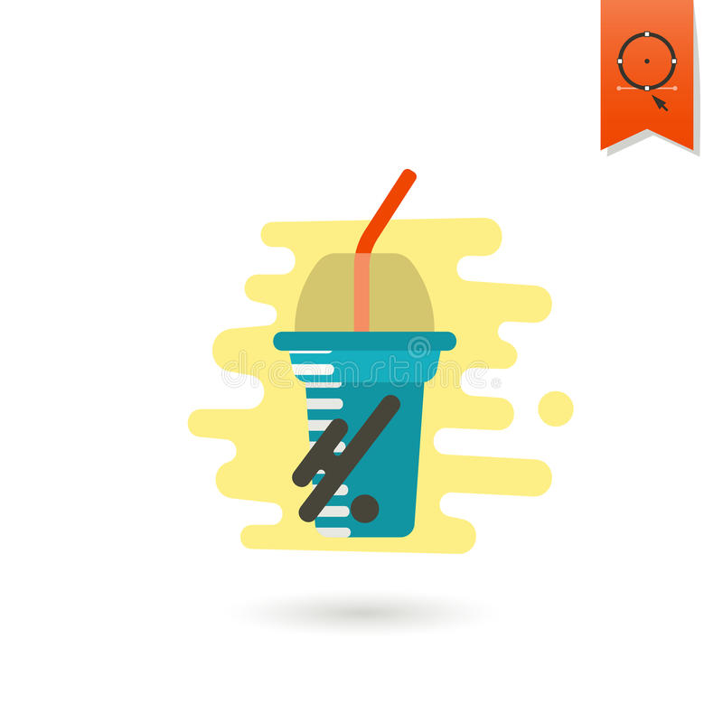 Disposable Cup with Lid and Straw vector illustration