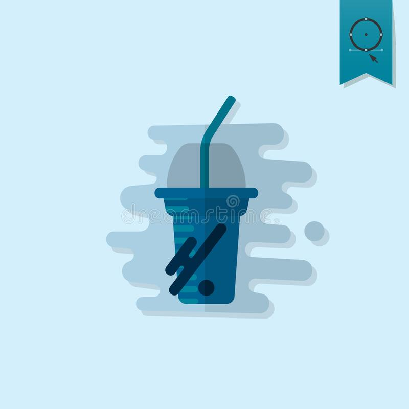 Disposable Cup with Lid and Straw royalty free illustration