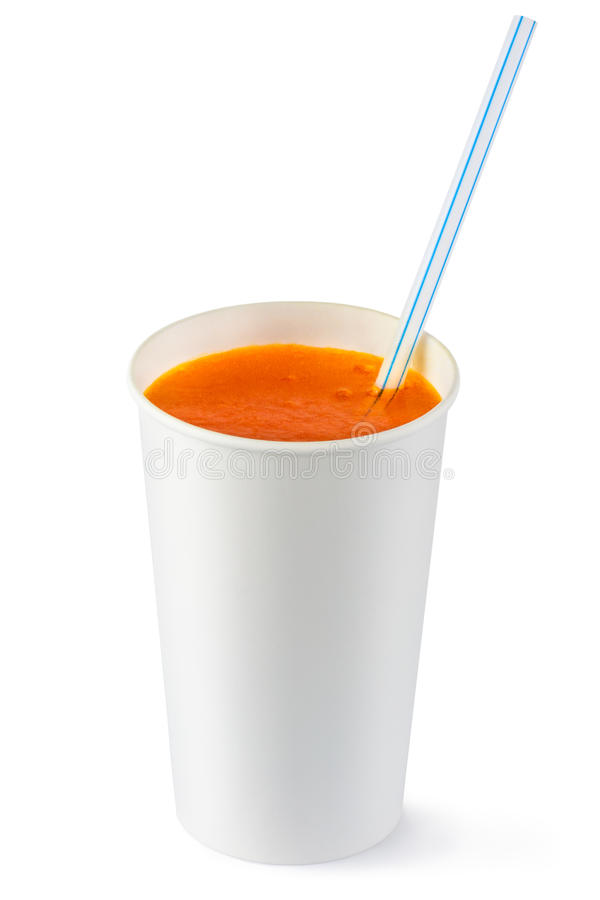 Download Disposable Cup Of Orange Fizzy Drink And Straw Stock Image - Image of drink, beverage: 23230875
