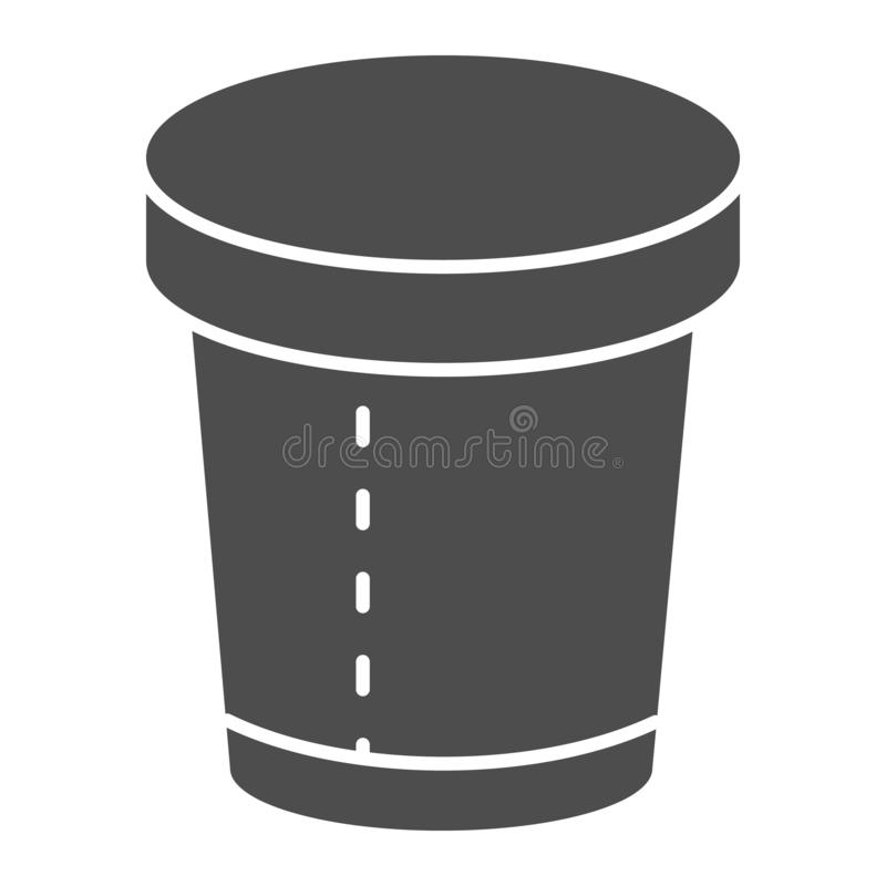 Disposable cup solid icon. Paper cup vector illustration isolated on white. Coffee cup glyph style design, designed for. Web and app. Eps 10 vector illustration