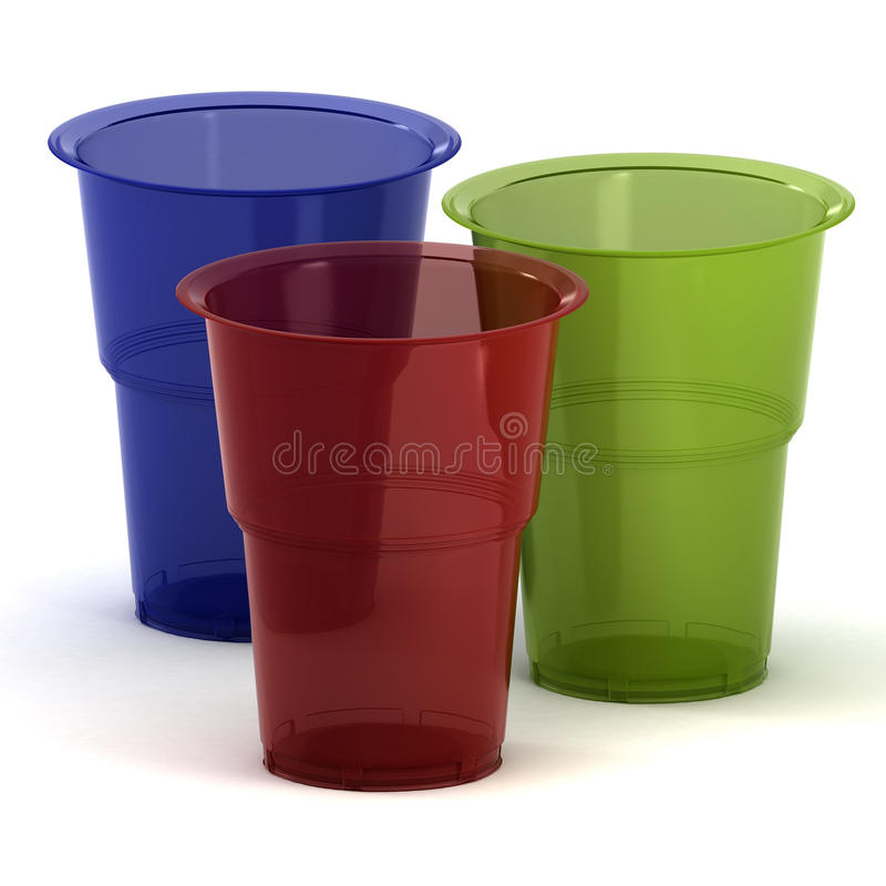 Disposable cups 3d illustration royalty free stock photos