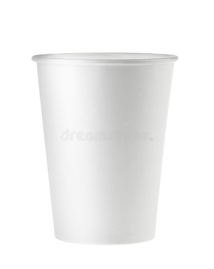 Disposable empty white paper cup isolated. Clipping path - Image.  royalty free stock images