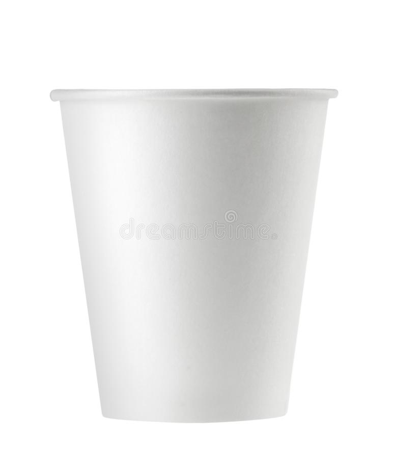 Disposable empty white paper cup isolated. Clipping path - Image.  stock photography