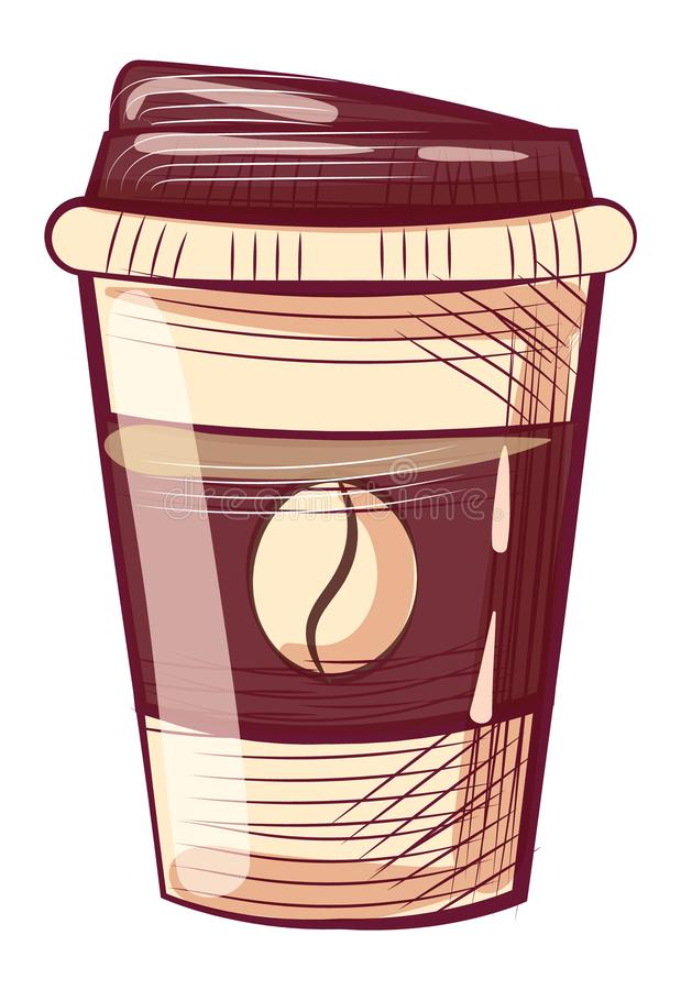 Disposable Mug with Lid, Coffee Container with Cap royalty free illustration