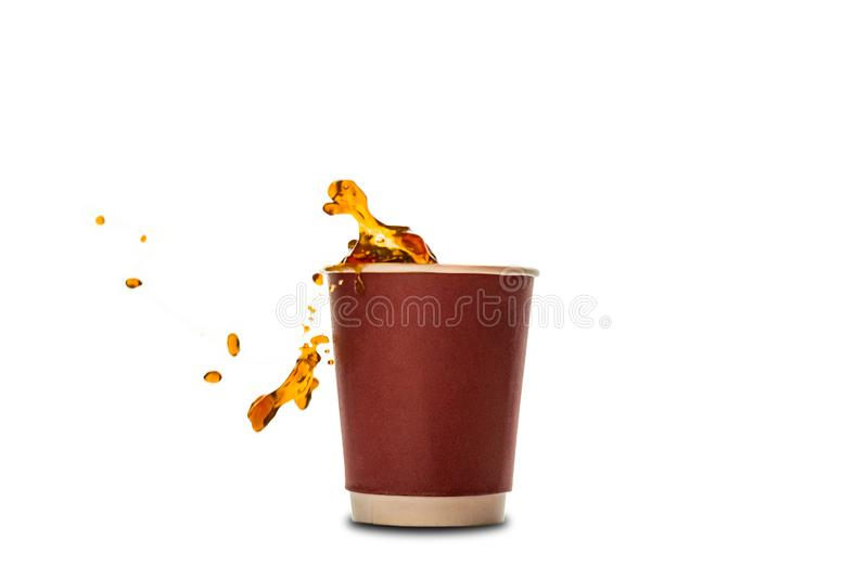 Disposable paper cups with coffee splash isolated on white. royalty free stock image