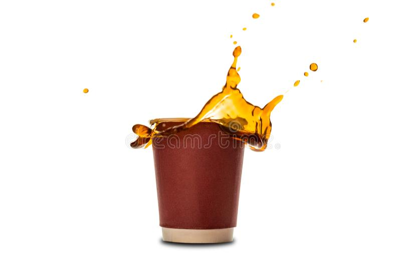 Disposable paper cups with coffee splash isolated on white. stock photo