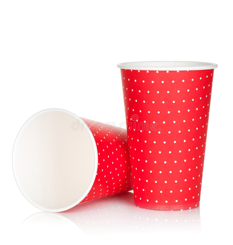 Disposable paper cups stock photos
