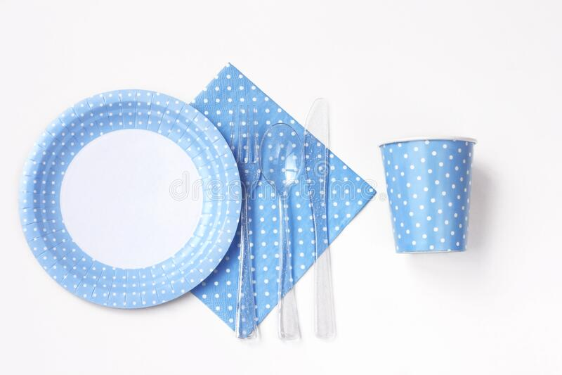 Disposable paper tableware, plate, glass, napkin stock photography