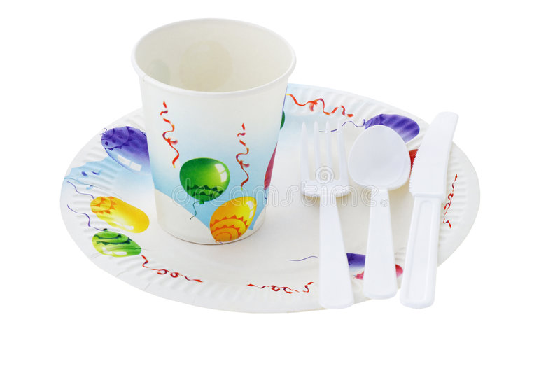 Disposable partywares stock image