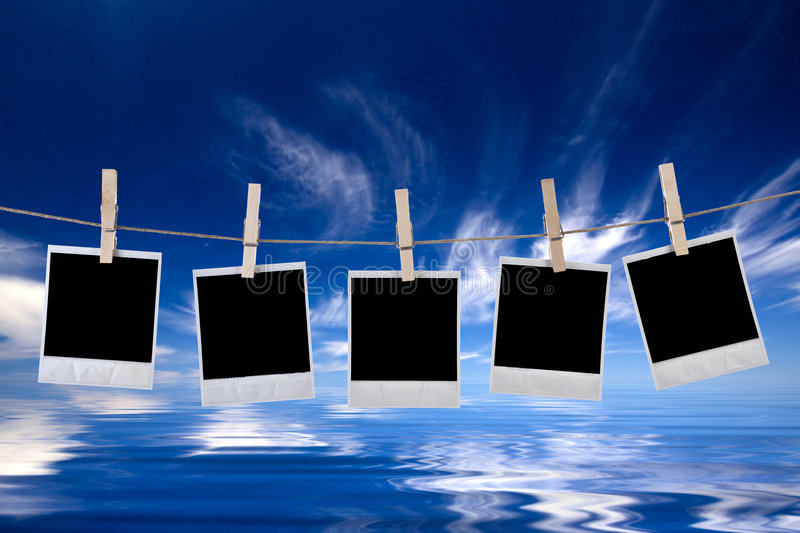 Disposable Photo Frames Hanging In The Rope Stock Image - Image of ...