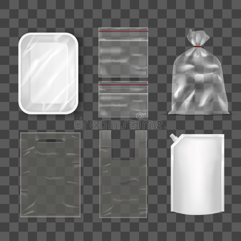Download Disposable Plastic Bag Package Set On Transparent Background. Vector Stock Vector - Image: 91308582