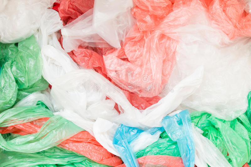 Disposable plastic bags. Texture background stock photo