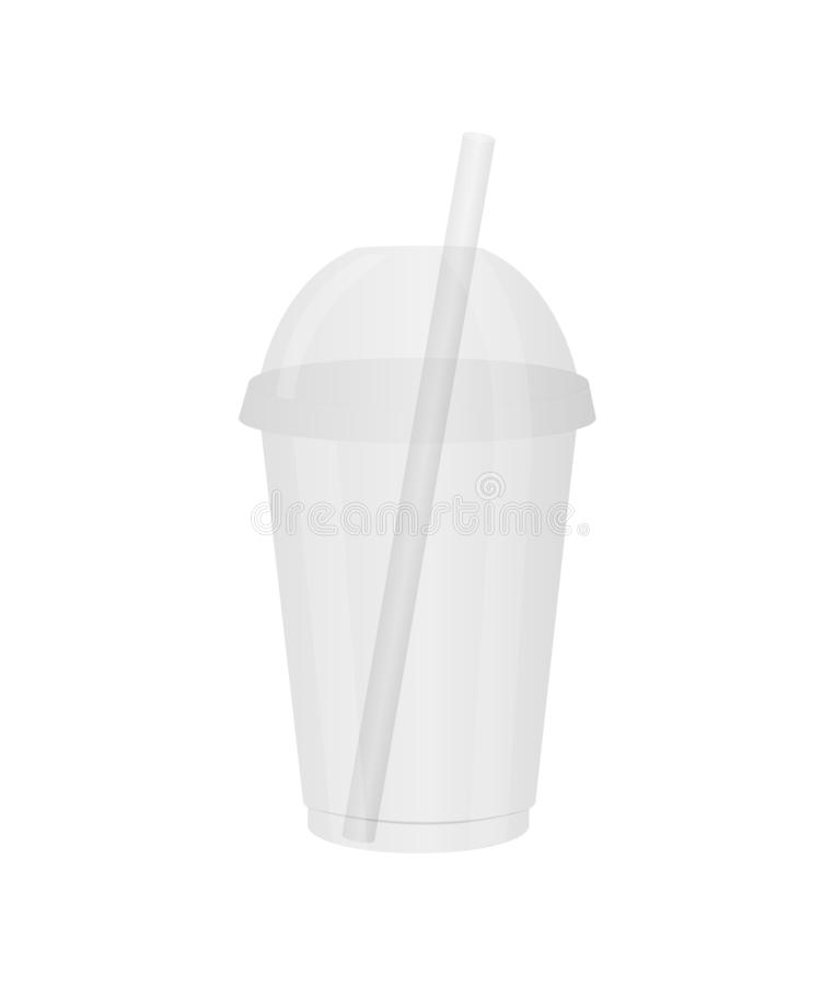 Disposable plastic cup with a lid and a straw. Glass for juice, cocktail, smoothie, fresh juice, etc vector illustration