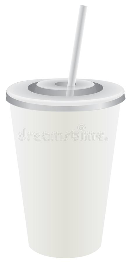 Disposable plastic cup with straw royalty free illustration
