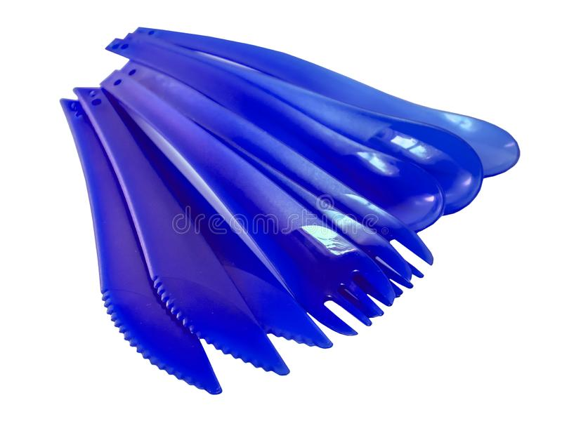 ..Disposable plastic picnic utensils. Bright set of dishes. Cutlery royalty free stock image