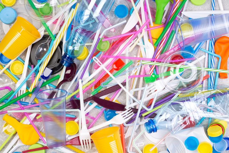 Disposable single use plastic objects that cause pollution of the  environment, especially oceans royalty free stock image