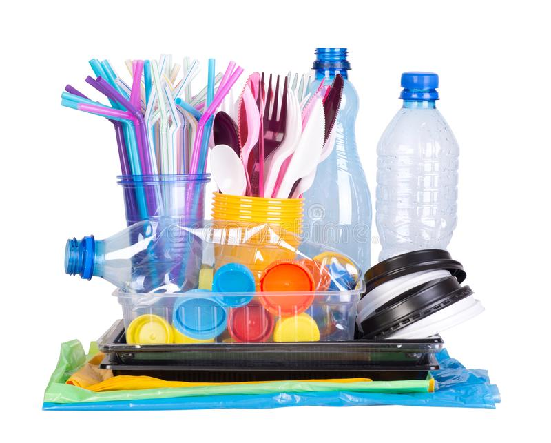 Disposable single use plastic objects  that cause pollution of the environment stock photography