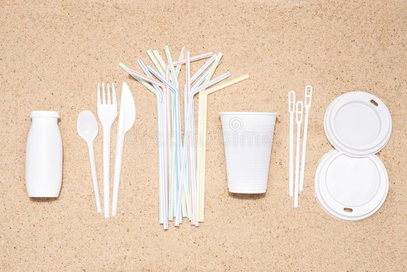 Disposable single use plastic objects that cause pollution of the  environment, especially oceans royalty free stock photo