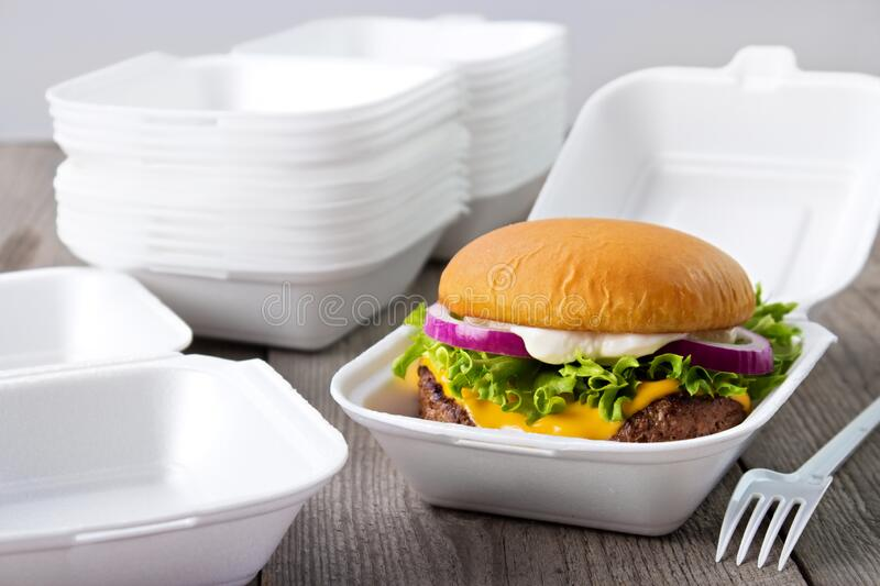Disposable burger boxes royalty free stock photography