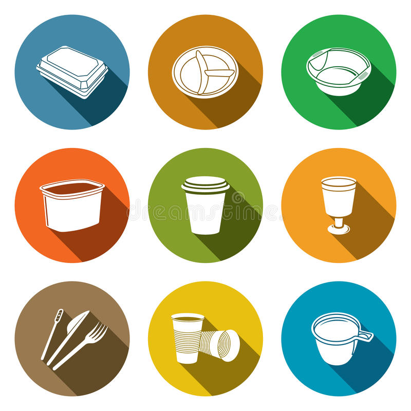 Disposable tableware Icons royalty free illustration