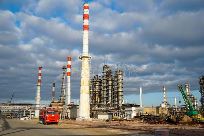 Disposal of the technological installation for the manufacture of light oil products at a refinery in Russia. Disposal of the technological installation for the stock image