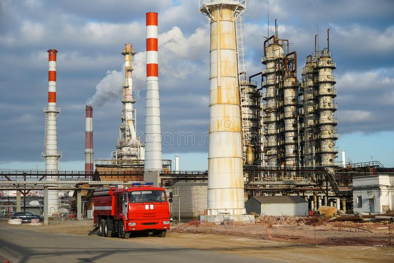 Disposal of the technological installation for the manufacture of light oil products at a refinery in Russia. Disposal of the technological installation for the stock images